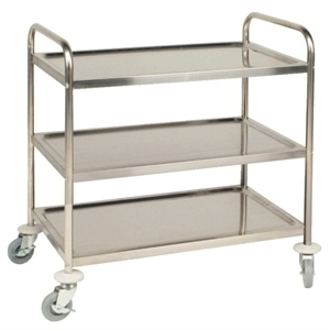CHARIOT ACIER INOXIDABLE TAILLE MOYENNE 3 PLATEAUX F994